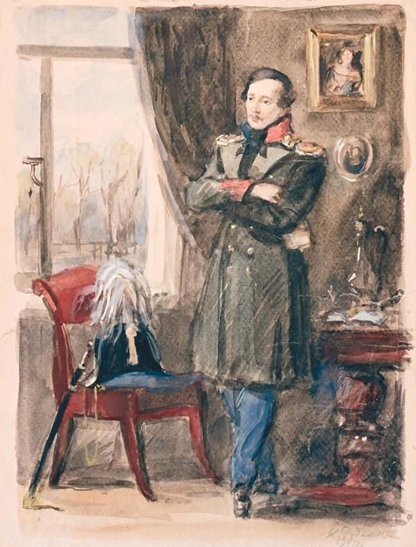 Константин Рудаков. Портрет М. Ю. Лермонтова. 1940.